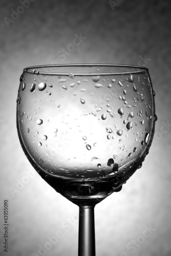 Wineglass with Drops Black and White