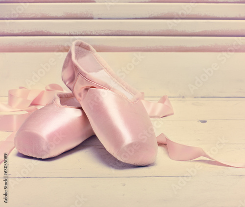 Pair of a pale pink ballet point shoes
