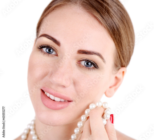 Portrait of pretty girl  with pearl beads