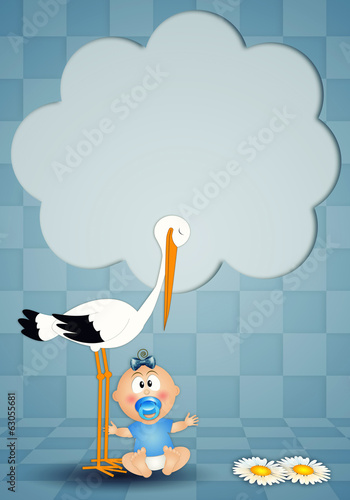 Newborn postcard with stork and boy