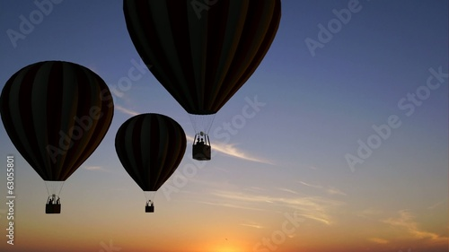 Hot Air Balloons Beautiful Silhouette in the sunset