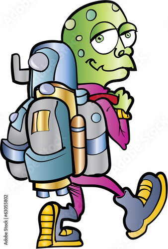 Cartoon alien jetpack user