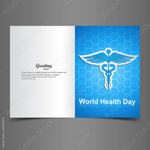 World health day for greeting card Caduceus medical symbol prese