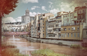 Gerona, Costa Brava, Catalonia, Spain: Vintage style cathedral