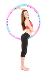 Woman doing exercises with hula hoop isolated on white