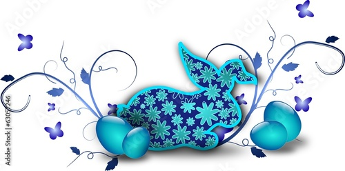 Dark blue rabbit easter decoration