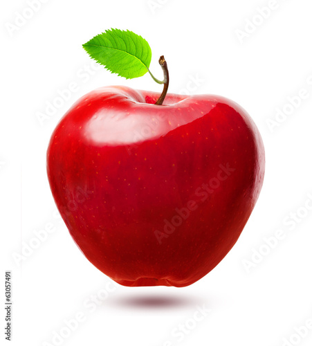 Red apple fruit with leaf isolated on white background