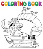 Coloring book ship with pirate 1 - 63058298