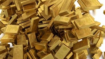 Falling down small gold bars.