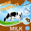 Fresh Milk from Cow.Natural Dairy product sticker.Vector
