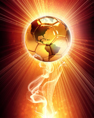 sunny soccer ball with world map