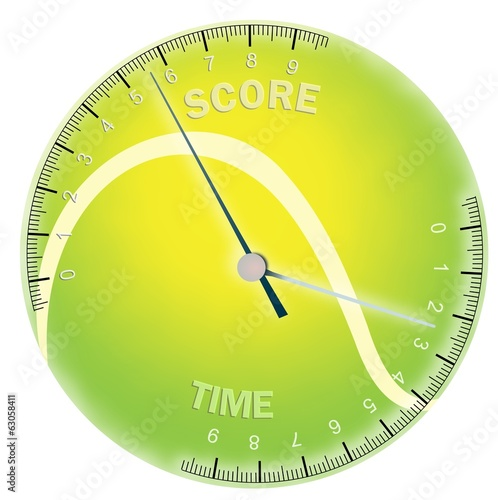Colored tennis ball with time and score scales