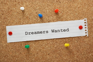 The phase Dreamers Wanted on a cork notice board