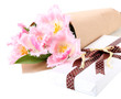 Beautiful tulips and gift box, isolated on white