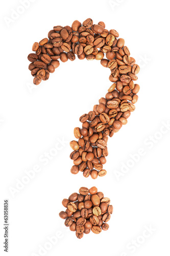 Question mark from coffee beans