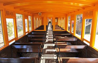 Inside the tourist train Rio Tinto Mines, Huelva, Spain