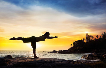 Yoga near lighthouse