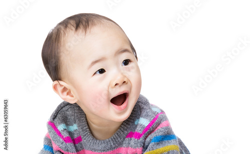 Asian baby boy screaming