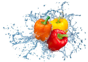 Pepper in spray of water.