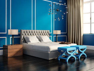 Contemporary elegant luxury blue bedroom with large windows