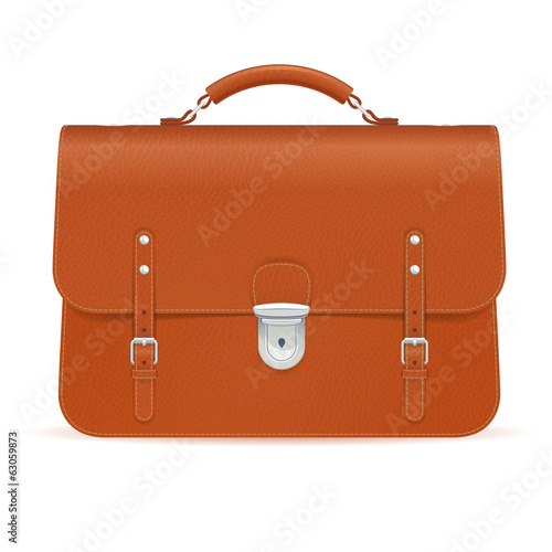 Brown leather briefcase icon isolated on white background.