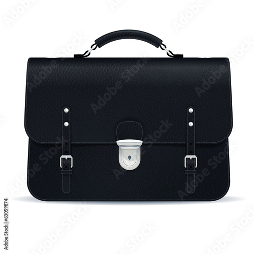 Black leather briefcase icon isolated on white background.