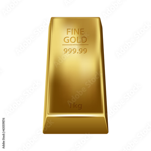 Gold bullion isolated on white background. Golden ingot.