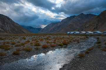 Tourist camp at dusk, Rangdum, Zanskar valley, India