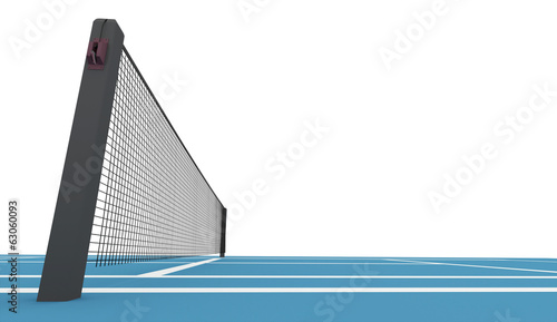 Blue tennis court rendered isolated