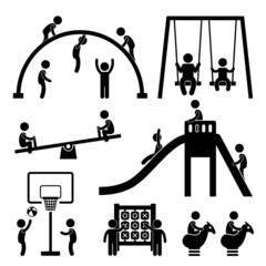 Children Playing at Playground Park Outdoor