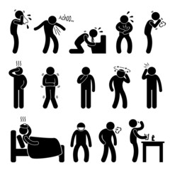 Sick ill Fever Flu Cold Sneeze Cough Vomit Disease