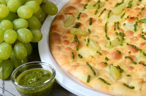 Focaccia with grapes and sauce Pesto
