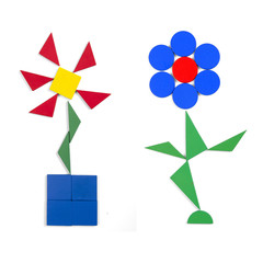 two flowers of geometric figures