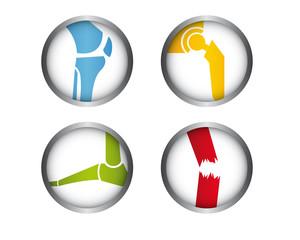 4 Medizinische Icons - Knie - Hüfte - Fuß - Trauma