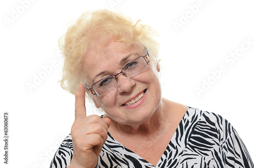 Portrait of old woman isolated on white background