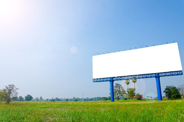 Blank billboard ready for new advertisement on meadow
