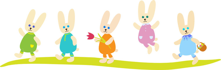 Five Easter Bunnies