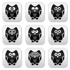 Owl cartoon character vector buttons set