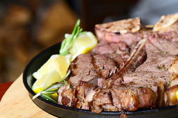 Stake from mutton with a lemon