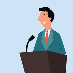 businessman giving speech