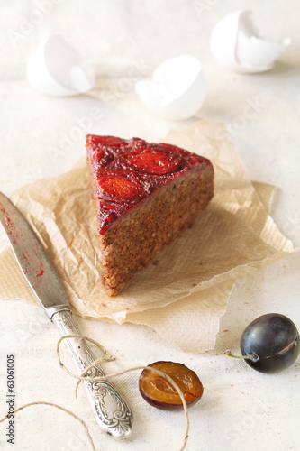Piece of Upside-Down Plum Cake