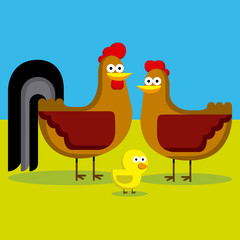 Cartoon Rooster, Hen And Chick With Color Background