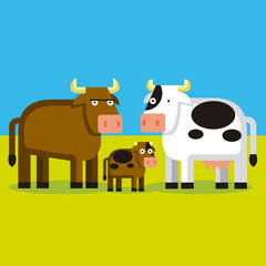 Cartoon Bull, Cow and Cald On A FIeld