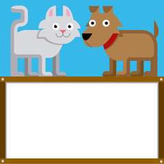 Cute Cartoon Cat And Dog With Space For Text