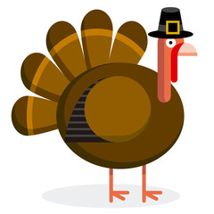 Cute Cartoon Turkey With Pilgrim Hat