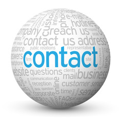 """CONTACT"" Tag Cloud Globe (call us details customer service faq)"