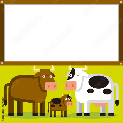 Cute Cartoon Bull, Cow And Calf With Space For Text
