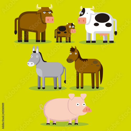 Group Of Different Farm Animals With Color Background