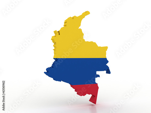 3d Map of Colombia with flag