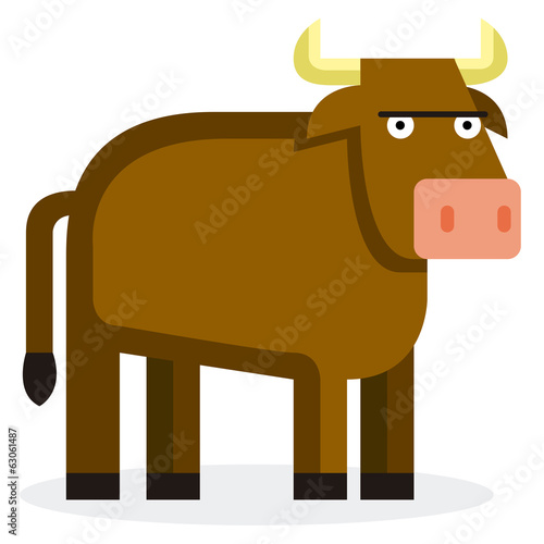 Cute Cartoon Bull Isolated On White Background